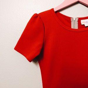 RED FLAIR SKIRT DRESS